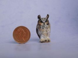 Miniature great-horned owl by AnyaStone