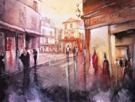 SOLD - Sunset over Montmartre - Watercolor by nicolasjolly