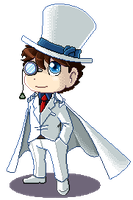 Pixel art: Kaitou Kid by Shirokaze2012