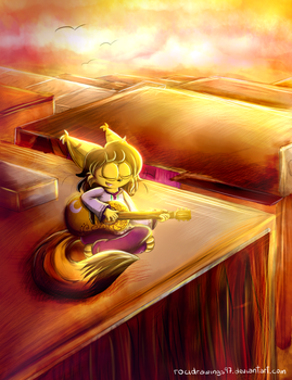 Guitar in a sunset by RociDrawings97