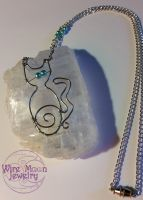 Wire Blue Eyed Kitty Necklace by WireMoonJewelry