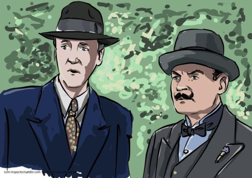 Hercule Poirot Captain Hastings -colored by rum-inspector