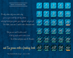 NaNoWriMo Calendar - ALL CAPS by Nessarie