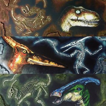dinosaur mixed media paintings by DaveSchultz