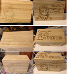 France Recipe Box Woodburning, before and after by blackdragon1313