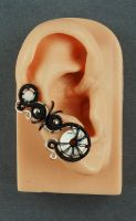 Black White and Silver Ear Cuff by sylva