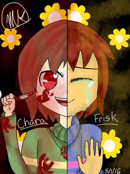 Frisk and Chara (Undertale) by MichelleChipher