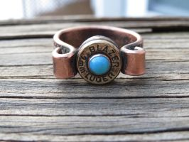 Bullet ring with turquoise by whippetgirl