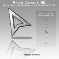 Silver Cursors 3D Small by JJ-Ying