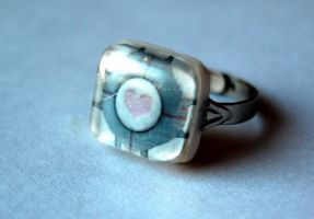 Adjustable Companion Cube Ring by OcularFracture