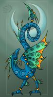 Bird headed winged serpent in color by Gerie-Aren