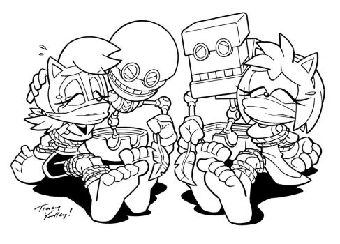Sally and Amy Getting Tickled By Orbot and Cubot by Sonbound