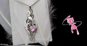 'Mew', handmade sterling silver pendant by seralune