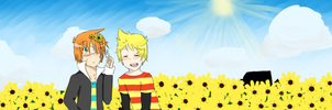 In the Sunflower Field by Shimasteam2112