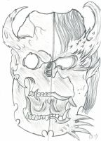 Quick sketch of a double Hannya mask by flaviudraghis