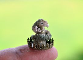 Nameless dragon miniature sculpture by wibblequibble