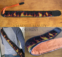Flame Print Chainmaille Guitar Strap by ChainedBeauty
