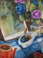 Oil Pastel Flower Still Life by cusT0M