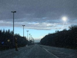 In the road and the rain by angelwillz