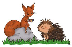Squirrel and Hedgehog by Anhinga