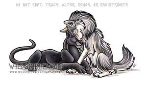 Wolf And Panther Commission by WildSpiritWolf