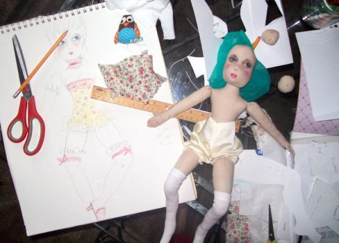 WIP Sketch and Doll by Rhissanna