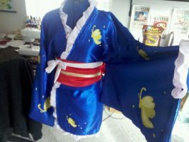 Kyubei's blue outfit cosplay costume from Gintama by vandersnark