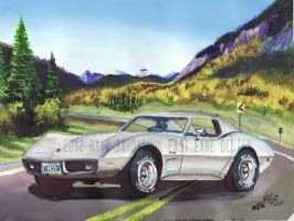 1976 Chevy Corvette Stingray In The Rockies by FastLaneIllustration