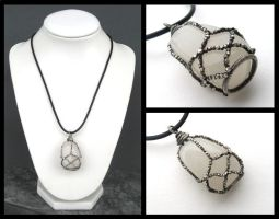 silver caged gemstone by annie-jewelry
