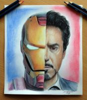 Iron Man / Tony Stark Color Pencil Drawing by AtomiccircuS