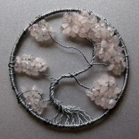 Rose Quartz and Silver Tree of Life pendant by craftymama