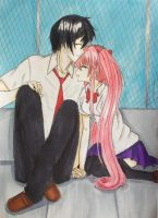 Kazuki and Tori in the school rooftop by Ginchi-chan