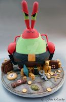 Mr Krabs as Lara Croft Cake by ginas-cakes