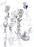 DEFECTIVES concept sketches (for IZ-TheDoomMovie) by KnockPainter