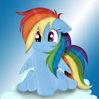 Rainbow Dash on a Cloud by martybpix