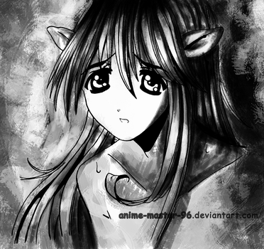 Lucy - Elfen Lied - Inking 3 - Shaded 2 Hard Light by anime-master-96