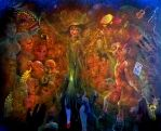 in the invisible band      oil on canvas80x100cm by rodulfo