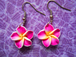 Fucshia Hibiscus Earrings by LypticDesigns