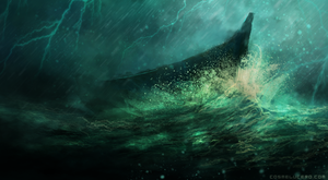 Boat in the storm by Aeflus