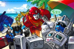 TF fanart - Autobots vacation Ver2 by GoddessMechanic