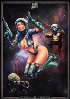 space girl  n robot monster by paulobarrios