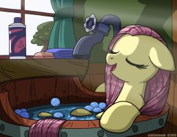 Fluttershy Bath by LateCustomer