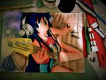 anime girl playing guitar by shiviumeshh