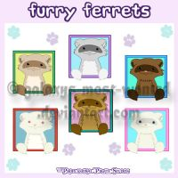 FURRY Ferrets Sticker Set 1 by Galaxys-Most-Wanted