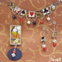 Poker Chip Playing Cards matching Jewelry Set by tursiart