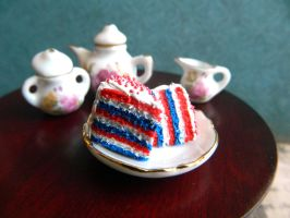 Red White and Blue Cake Slice Charms by Xiiilucky13
