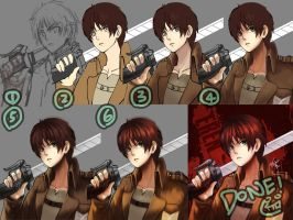 step by step: Eren Yeager by Goditsuka
