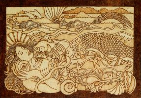 Beautiful Mermaid pyrography wooden plaque by YANKA-arts-n-crafts