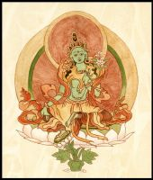 Green Tara by IngeVandormael
