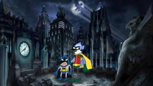Batcoon and the Bluewonder by LargerYeti